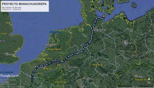 Reise des Mönchsgeiers Brinzola von Frankreich über Belgien, die Niederlande und Deutschland bis nach Fehmarn. Image: Proyecto Monachus, google earth