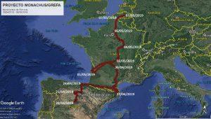Reise des Mönchsgeiers Brinzola durch Spanien, Frankreich nach Belgien. Image: Proyecto Monachus, google earth