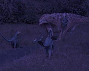 Drei kleine Flrischfresser greifen ein größeres Tier an