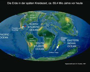 Weltkarte mit den Kontinenten am Ende der Kreidezeit