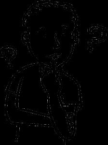 Sketch eines Jungen, der nachdenkt