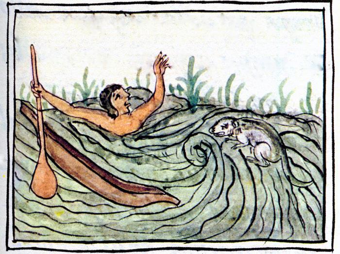 Ein Mann ertrinkt, neben ihm der Ahuizotl