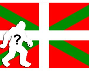 Baskische Fahne mit Yeti-Schattenriss