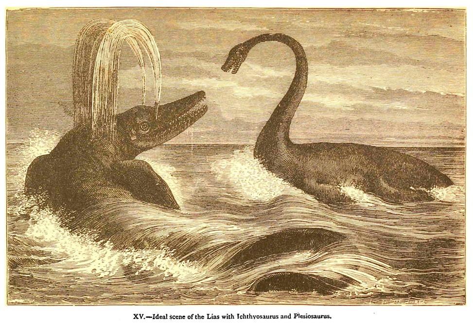 Dinosaurierkampf von Édouard Riou