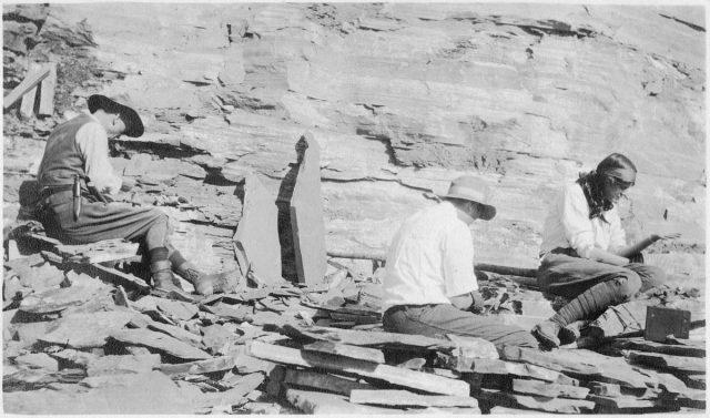 Charles Walcott und Familie bei der Ausgrabung