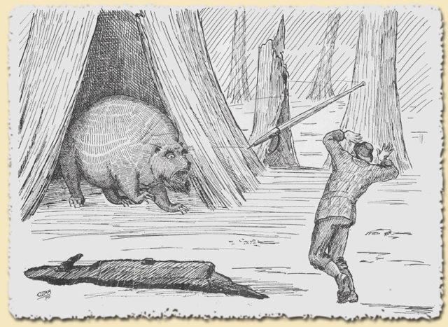 Gumberoo erschrickt Holzfäller